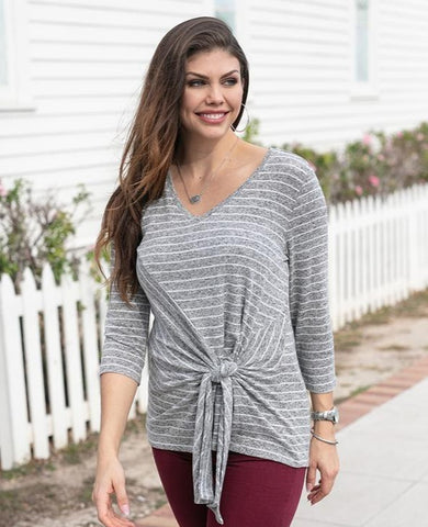 Striped tie front top in heather grey