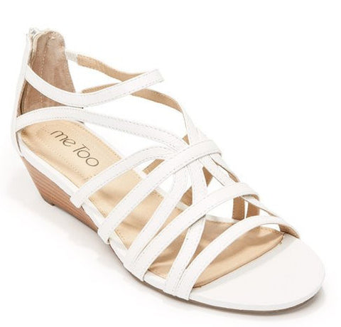 Sofie white leather demi wedge sandals