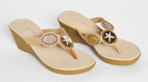 Camel starfish comfort wedge sandals