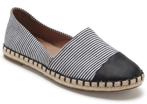 Steel striped slip-ons in black/white