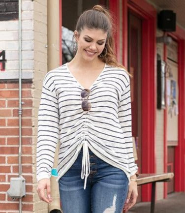 Striped cinched sweater in ivory/navy