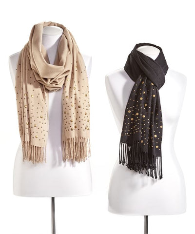 Studded scarf in beige