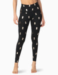 Pineapple high waisted midi leggings in black