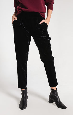 Crushed velour trouser pants in black