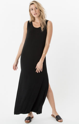 Side slit maxi dress in black