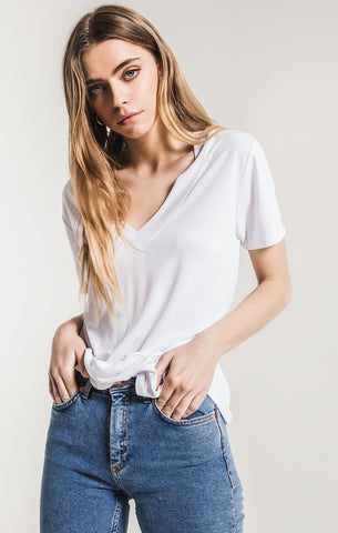 Lux modal v-neck tee in white