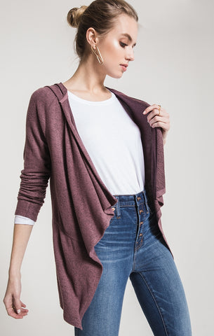 Marled hooded waterfall cardigan in deep cola