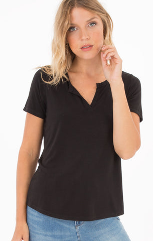 Premium sleek jersey split neck tee in black