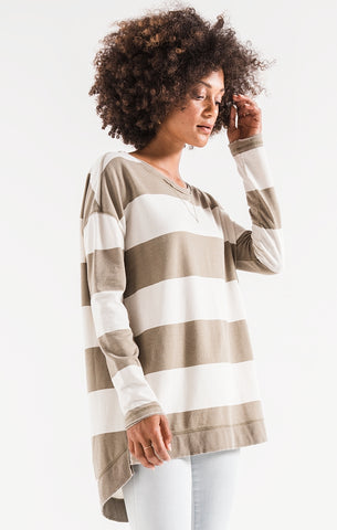 Rugby stripe weekender long sleeve top in silver sage