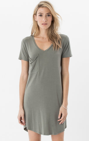 Short sleeve pocket tee dress in ash green