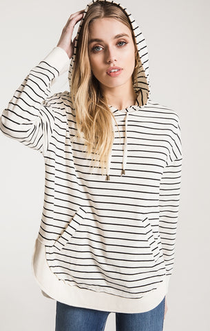 Striped Dakota pullover hoodie in Pearl/Black