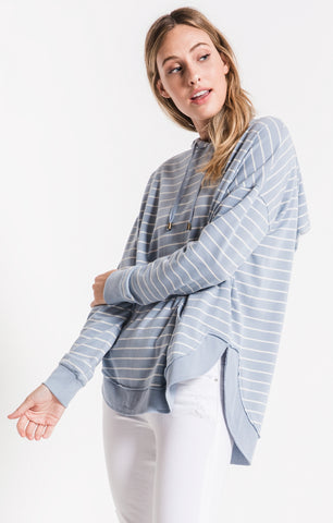 Striped Dakota pullover hoodie in dusty blue/pearl