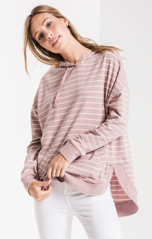 Striped Dakota pullover hoodie in mauve/pearl