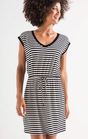 Striped shirred dress in black/white