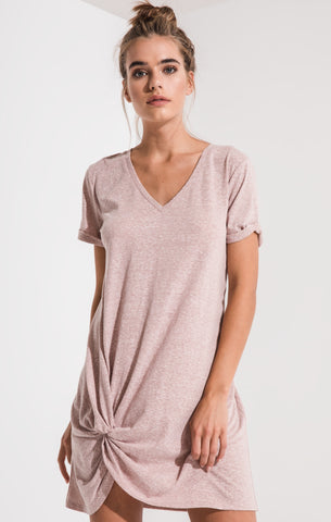 Triblend side knot dress in deauville mauve