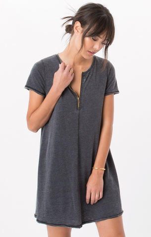 Front zip swing dress in dark grey