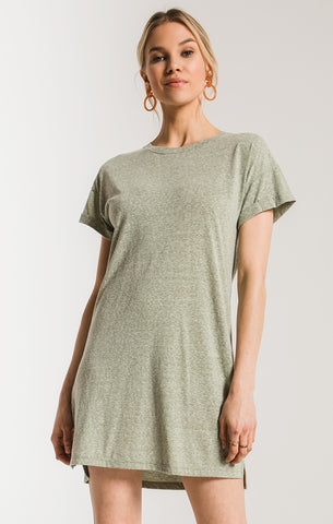 Triblend t-shirt dress in oil green