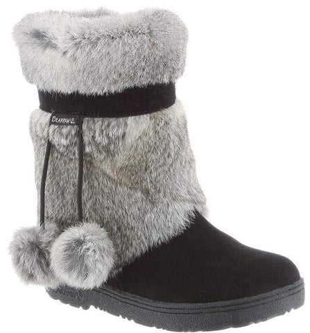 Tama fur trim boots in black/grey
