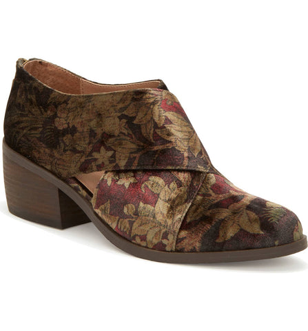 Taze brown floral velvet booties