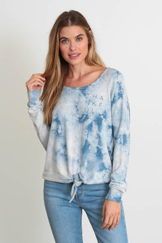 "The meka top in storm wash ""Thankful"""
