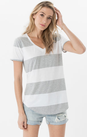 Short sleeve venice stripe tee in heather grey/white