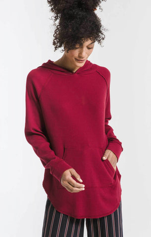 Thermal hooded tunic top in rumba red