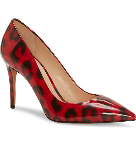 Treesha patent leopard pumps in red/black