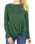 Twist hem pullover in sycamore green