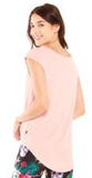 Twist front cap sleeve top in dusty pink