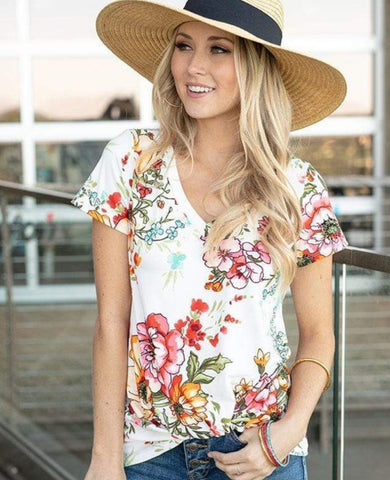 Live-in twist hem tee in ivory floral