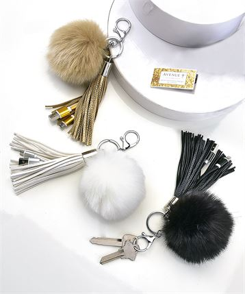 Pom pom & tassel purse accessory w/USB charger - black