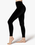 Velvet motion high waisted midi leggings in black