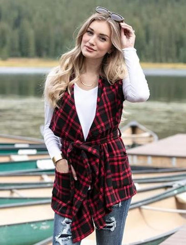 Winter plaid vest in red/black