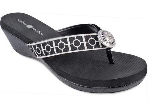 Yoga Lynne black wedge flip flops