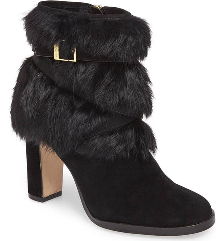 Yuma fur cuff booties in black