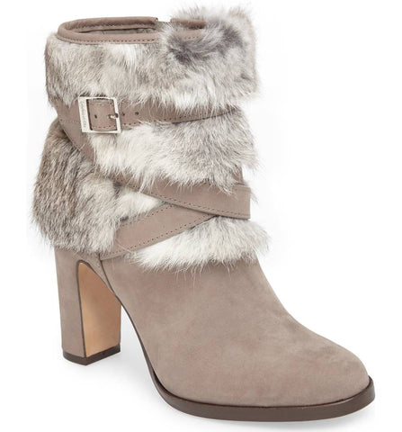 Yuma fur cuff booties in gravel grey