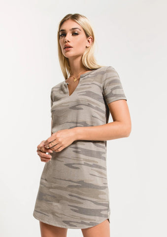 Split neck dress in light sage camo