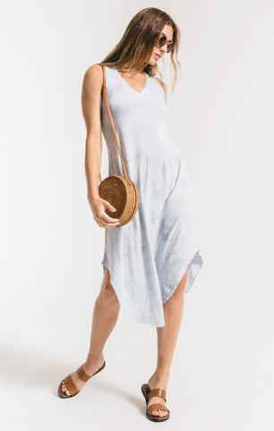 Cloud tie-dye midi dress in light blue