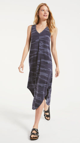 Camo reverie midi dress in dark blue
