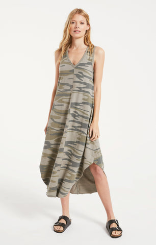 Camo reverie midi dress in light sage