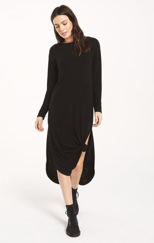Maxi ray slub sweater dress in black