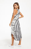 Reverie spiral tie dye dress in charcoal