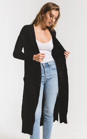 Textured rib duster cardigan in black