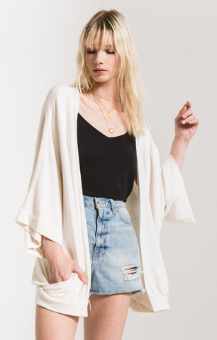 Premium fleece cardigan in oatmeal