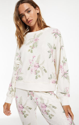 Garden floral loungewear set in bone