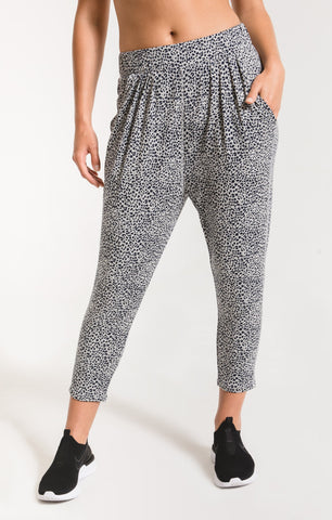Mini leopard pants in heather grey/navy