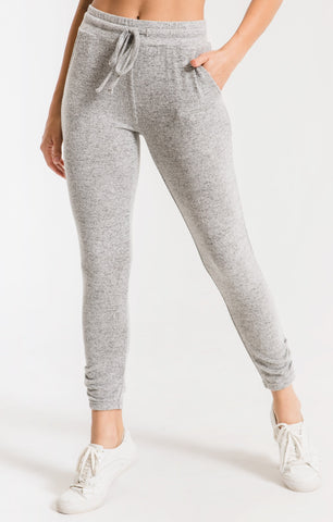 Marled ankle pants in heather grey