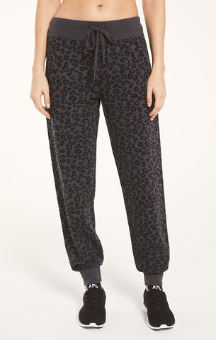 Ava leopard joggers in charcoal black