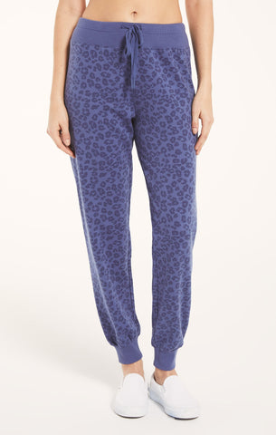 Ava leopard joggers in vintage blue
