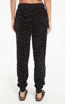 Eris tiger flocked joggers in black